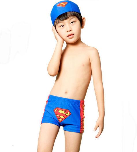 Free shipping kids cartoon super man swimming trunks bathing shorts for boy child swim trunks with