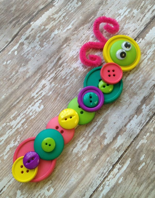 Button crafts for kids caterpillar easy fun craft projects with buttons for kids