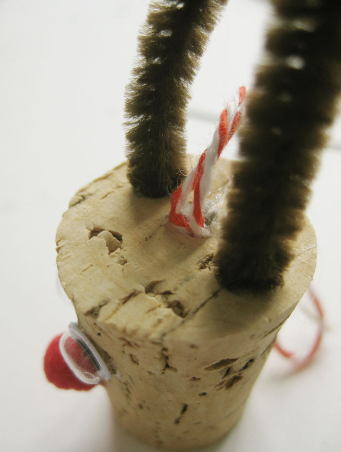 Wine cork reindeer ornament ears