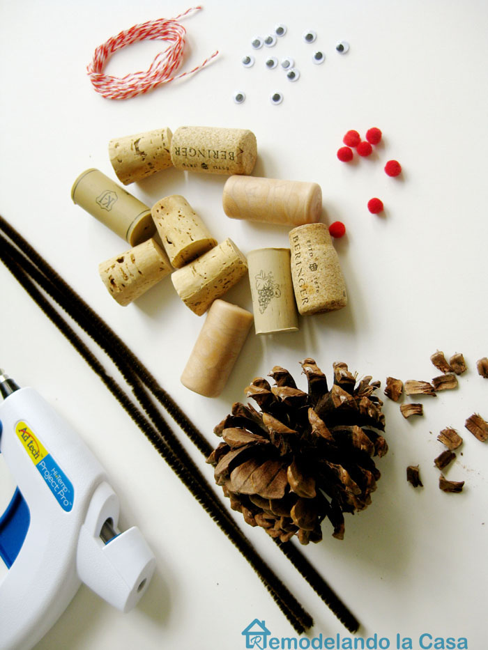 Wine cork reindeer ornament materials