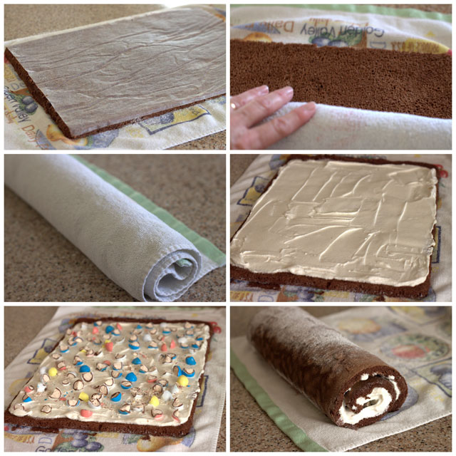 Malted Milk Ball Ice Cream Cake Roll Collage 2 Barbara Bakes
