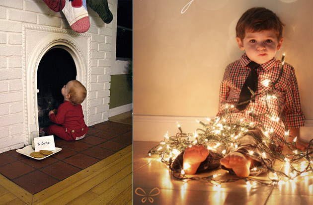 ideas photography kids christmas DIY ideas fotográficas con niños en navidad lights luces chimenea