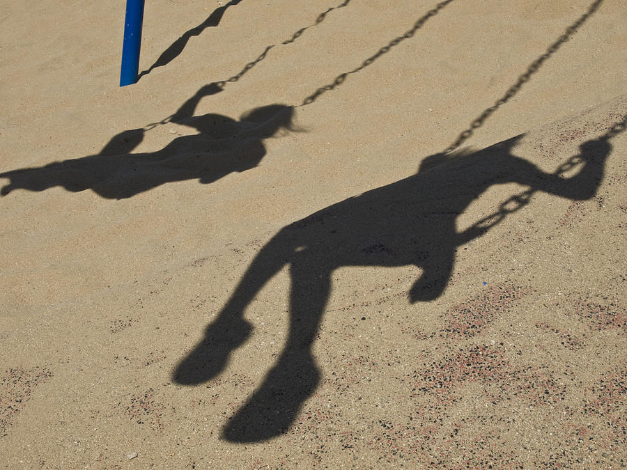 children cast body shadows in the sand stacy gold